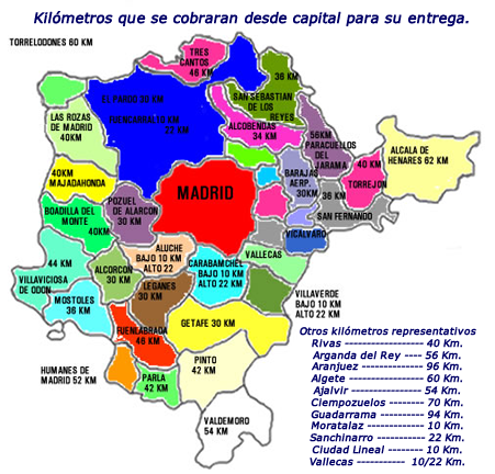 Envios locales for Mapa de codigos postales de madrid capital
